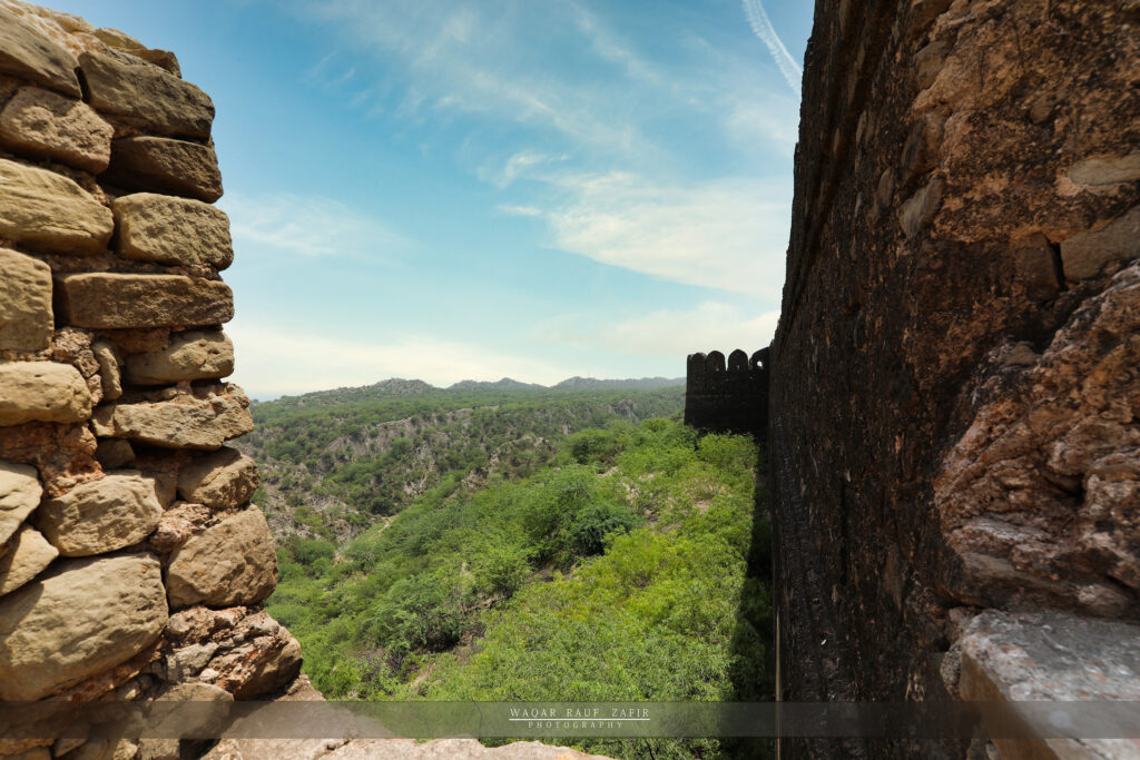 the deep walls of the fort